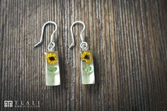 Real miniature Sunflower Sterling Silver Earrings from our Happiness Collection #TlaliArt