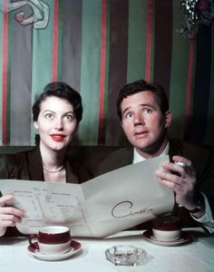 Ava Gardner and Howard Duff at Ciro's, 1940's