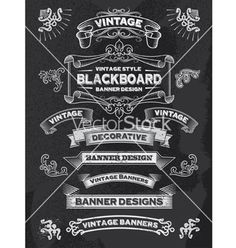 Retro banner and ribbon blackboard design set vector 1601358 - by rtguest on VectorStock®