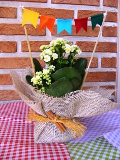 With June approaching, there are already people thinking about how to make the souvenirs for the June party. The traditional festival of São João, which Farm Party, Ideas Para Fiestas, Holidays And Events, First Birthdays, Party Time, Party Favors, Crafts For Kids, Projects To Try, Table Decorations