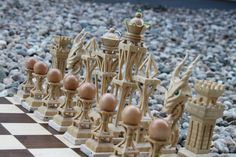 Custom Wooden Chess Set by CuriousCogs on Etsy, $3000.00. Would love to have this set. So beautiful!