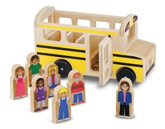 The school bus is here! There's a friendly driver at the wheel and room for six happy passengers in this eight-piece wooden play set. With easy-rolling wheels and doors that open and close, this exciting set stars a timeless-favorite vehicle and includes all the solid-wood play figures kids need to fill the seats. Durable construction means the fun will go on through countless pickups and drop-offs!