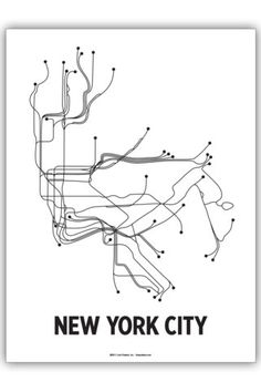 "LINE POSTERS NYC 18"" X 24"" SCREEN PRINT WHITE/BLACK"