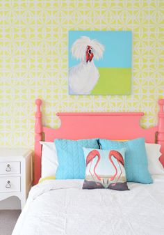 Girl's Room stenciled with Kinetic Floral Wall Stencil | Royal Design Studio
