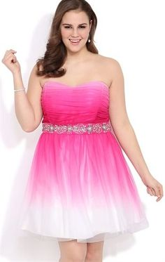 Deb Shops Plus Size #Ombre Strapless #Prom Dress with Chunky Stone Trim Waist
