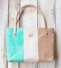 Hand Painted Canvas & Leather Tote Bag