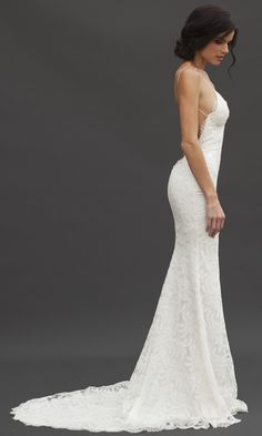 Beauty and elegance in a wedding dress. Backless lace dress :: Katie May's Princeville Gown (Side View)