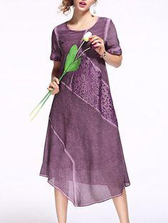 Shop Midi Dresses - Pink Crew Neck Silk Vintage Appliqued Midi Dress online. Discover unique designers fashion at StyleWe.com.
