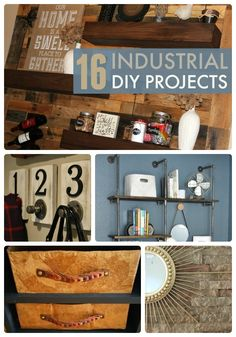 Check out these great ideas - 16 industrial diy projects, including reclaimed and industrial looks for your home!