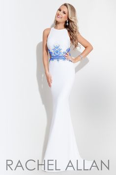 Long jersey gown with side cutouts and a high neckline, and it's at Rsvp Prom and Pageant, your source for the Hottest 2016 Prom and Pageant Dresses! Available sizes: 0-12 Available colors: Coral/Whit