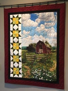 Ooh, sunflowers and red barn! Fabric Panel Quilts, Lap Quilts, Small Quilts, Mini Quilts, Fabric Panels, Quilt Blocks, Quilting Projects, Quilting Designs, Quilting Ideas