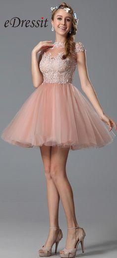 eDressit Lace Applique Pink Cocktail Party Dress