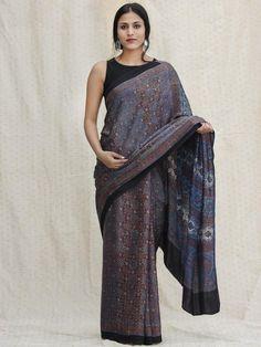 Indigo Black Red Ajrakh Hand Block Printed Modal Silk Saree - S031704127 Cotton Sarees Handloom, Pure Silk Sarees, Ethnic Sarees, Sari Dress, Saree Collection, Textile Design, Indigo, Model, How To Wear