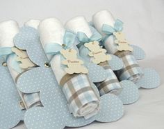 Lembrancinha Toalhinha Urso azul bebê