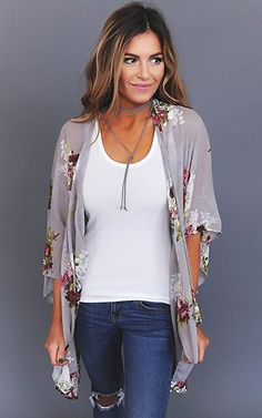 Ecowish Womens Floral Print Loose Puff Sleeve Kimono Cardigan Lace Patchwork Cover Up Blouse | Amazon.co,uk