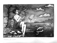 Melody for Swans. Etching