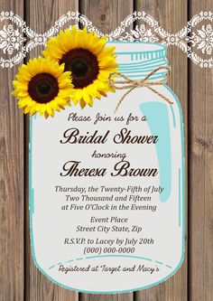 Sunflowers mason jar bridal shower invitationvintage mason jar this customizable bridal shower invitation can be purchased as a digital download and comes with a free coordinating thank you note with space to filmwisefo