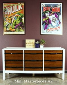 """Nine drawer dresser. Mainline by Hooker. Solid wood. Newly refinished. High gloss handles and a creamy white contrast nicely together.   60"""" Long 30.5"""" Tall 19"""" Deep  ***This piece is only available for local Tucson, AZ pickup. Please use the promo code TUCSONLOCAL to avoid shipping charges being added***"""