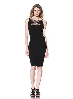 RED Valentino Sleeveless Lace Trim Fitted Dress