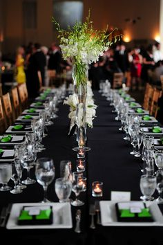 Green, black and white estate table setting  {Wedding Planning: www.ashleybaberweddings.com}