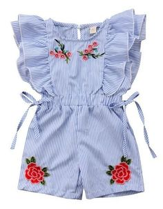 Baby girl Floral Ruffled Romper - Baby girl Floral Ruffled Romper Your todler girl will surely love the ruffles and embroidered floral details of this romper! Check it out today Frocks For Girls, Little Girl Outfits, Little Girl Fashion, Little Girl Dresses, Toddler Fashion, Toddler Outfits, Boy Outfits, Kids Fashion, Toddler Girls