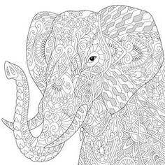 Stylized elephant, isolated on white background. Freehand sketch for adult anti stress coloring book page with doodle and zentangle elements.