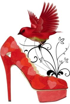 Charlotte Olympia Pumps and the Red Love Bird