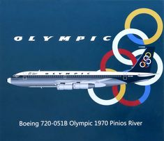 Olympic Airlines, B720, Aircraft Pictures, Jets, Olympics, Greece, Childhood, River, Jet Engine