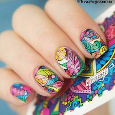 2016 New 1 Sheet Nail Art Water Decals Fashion Colorful Pattern Nail Art Water Sticker HOT Nail Art Designs, Fancy Nails Designs, Flower Nail Designs, Flower Nail Art, Nail Art Tattoo, Tattoo On, Colorful Nail Art, Trendy Nail Art, Mickey Mouse Nails