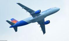 Allegiant airliner, flying over Lake Luxembourg, having taken off from Trenton-Mercer Airport in NJ.