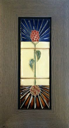 Three (3) Handmade Glazed Ceramic Clay Tiles  -  Flower and Roots