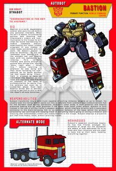 One of the characters from my Heavy Metal War team, the Dynabots. The names are all based on a chess theme - Bastion: Another word for castle (the Rook piece) - appropriate to Bastion& mobile comm. Transformers Decepticons, Transformers Characters, Transformers Movie, Robot Images, Mobile Command Center, Movie Ideas, Transformers Masterpiece, Jojo Bizzare Adventure, Optimus Prime