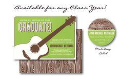 Guitar on Green Graduation Announcement