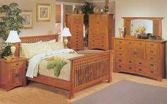 Bungalow Solid Oak Mission Queen Bed   MonsterMarketplace.com