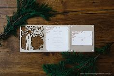 Wedding Invitations   Forest trifold   http://www.classicweddinginvitations.com.au/custom-wedding-invitation-2/