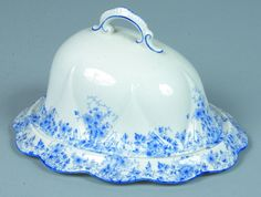 Shelley China Dainty Blue pattern Covered Cheese Dish,