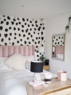 Home Interior Vintage Dalmatian Print Pink Parlour Bedroom Makeover Room Ideas Bedroom, Home Decor Bedroom, Modern Bedroom, Bedroom Ideas For Teens, Bedroom Furniture, Shabby Bedroom, Pink Home Decor, Pretty Bedroom, Living Furniture