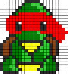 Kawaii Teenage Mutant Ninja Turtle Perler Bead Pattern | Bead Sprites | Characters Fuse Bead Patterns