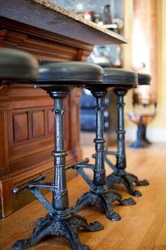 Intricate 1940s cast iron stools converted into barstools - steampunk style - Victorian - Bruce Rosenbaum