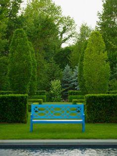 Yew, hornbeam and a blue bench Doyle Herman Design Associates Cedar Garden, Green Garden, Garden Gates, Garden Art, Landscape Architecture, Landscape Design, Garden Design, Plant Design, Formal Gardens