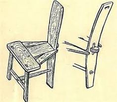 Drawing of a traditional Irish, Tuam Chair and of projecting tenon and wedge at back of seat. It was created with 3 legs as they balanced better on an uneven cobbled cottage floor. Easy Woodworking Ideas, Green Woodworking, Woodworking Skills, Woodworking Projects Plans, Furniture Plans, Wood Furniture, Sticks Furniture, Medieval Furniture, Rustic Chair