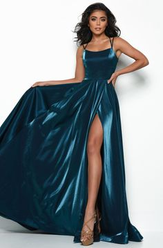 Shop at Prom Headquarters for A-line prom dresses. Jasz Couture 7015 satin prom dress with scoop neckline, fitted bodice, and lace up back. Prom Dress Stores, Cute Prom Dresses, Prom Dresses Online, Dance Dresses, Ball Dresses, Satin Dresses, Elegant Dresses, Pretty Dresses, Ball Gowns