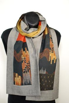 I bought this wonderful scarf - Vintage Kimono Scarf with Wool Blend Border - grey, mustard, rust, black, brown - reversible