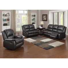Relax in luxury and style with this Gavin 3-piece living room set. Featuring a rich brown, bonded leather upholstery, this attractive group includes a recliner sofa, double-seat recliner loveseat and one reclining chair for the ultimate in comfort.