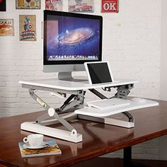 "Today Deals 17% OFF FlexiSpot 27"" Wide Platform Height Adjustable Standing Desk Riser Removable Keyboard Tray 