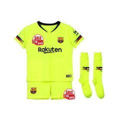 c63af6d86 Kids Barcelona Away Soccer Jersey Sets Children Shirt + Shorts + Socks  Jerseys