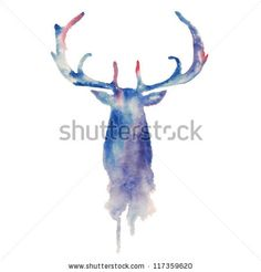 stock vector : Watercolor deer head