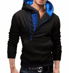 a803b85f1480 Fashion Men Hoodies Brand Male Long Sleeve Casual Hoodie Side Zipper Letter  Sweatshirt