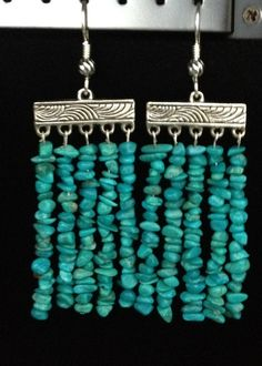 Pebble Turquoise Beaded Curtain Earrings with Tibetan Silver Hanging Connector