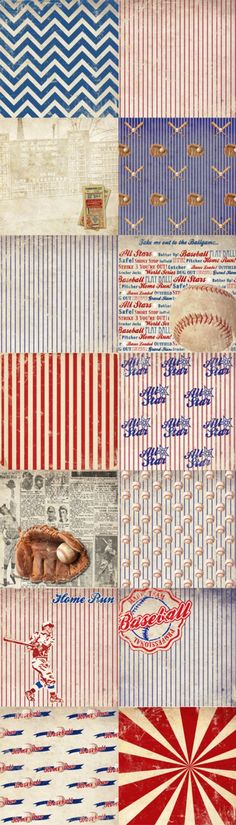 8a34a27a400d Vintage Baseball Paper Pack 14 Digital Sheets - INSTANT Download -  Scrapbooking Card Making Birthday